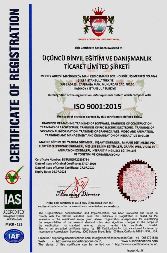 üçüncü binyıl akademi sertifika